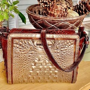 Brahmin Pecan & Gold Croc Embossed Leather Bag